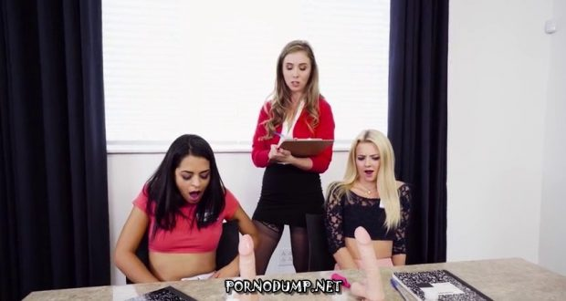 Young lesbian threesome focus groups testing a new dildo samples